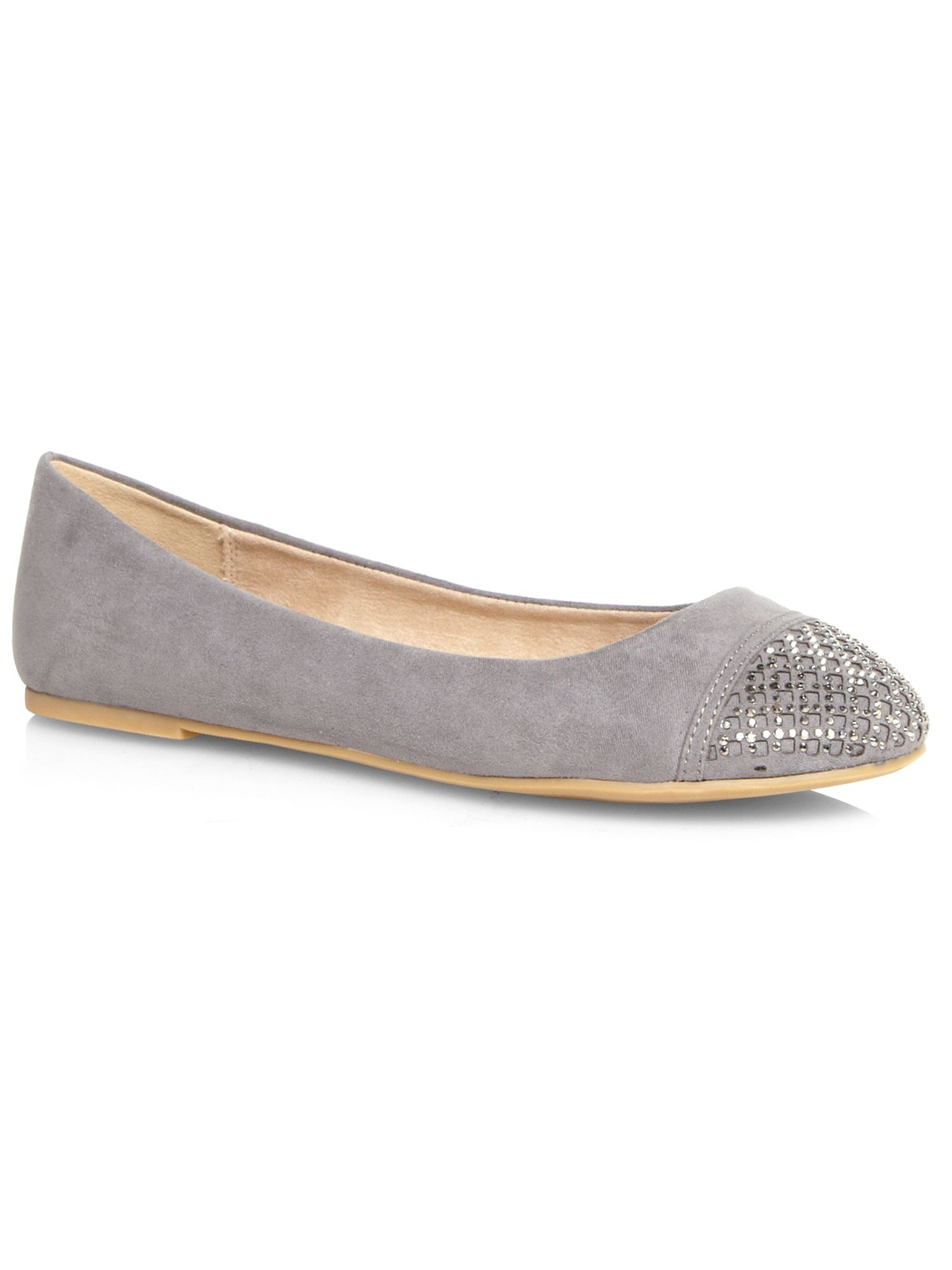Grey beaded toe pump