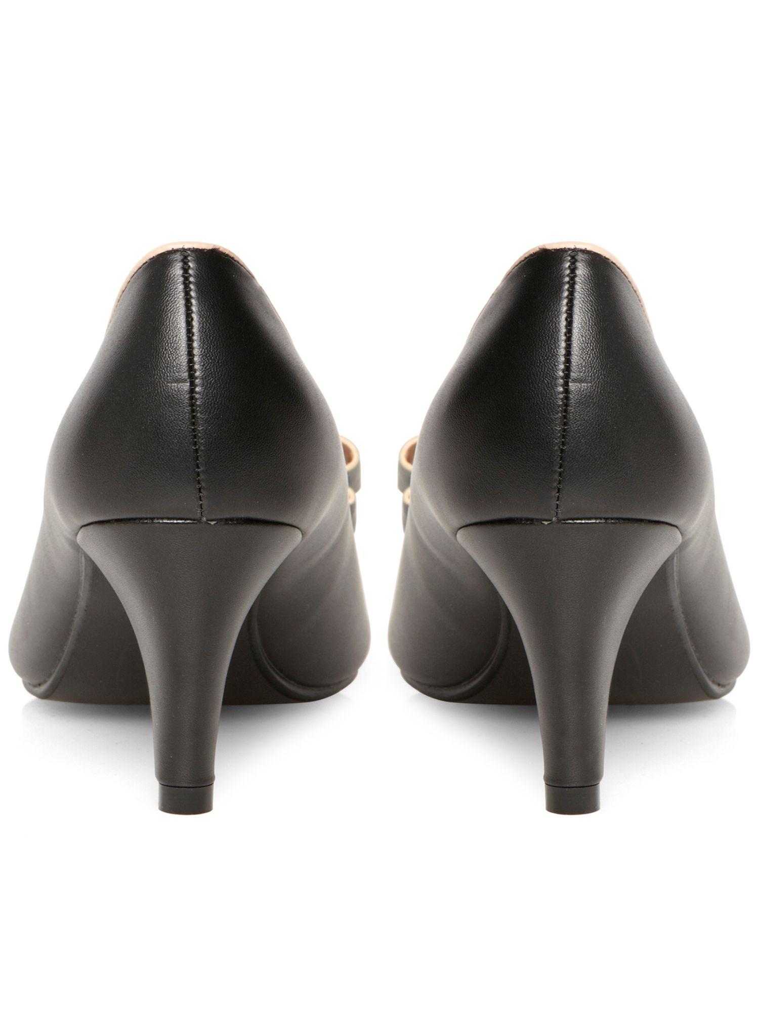 Black bow peeptoe court shoe