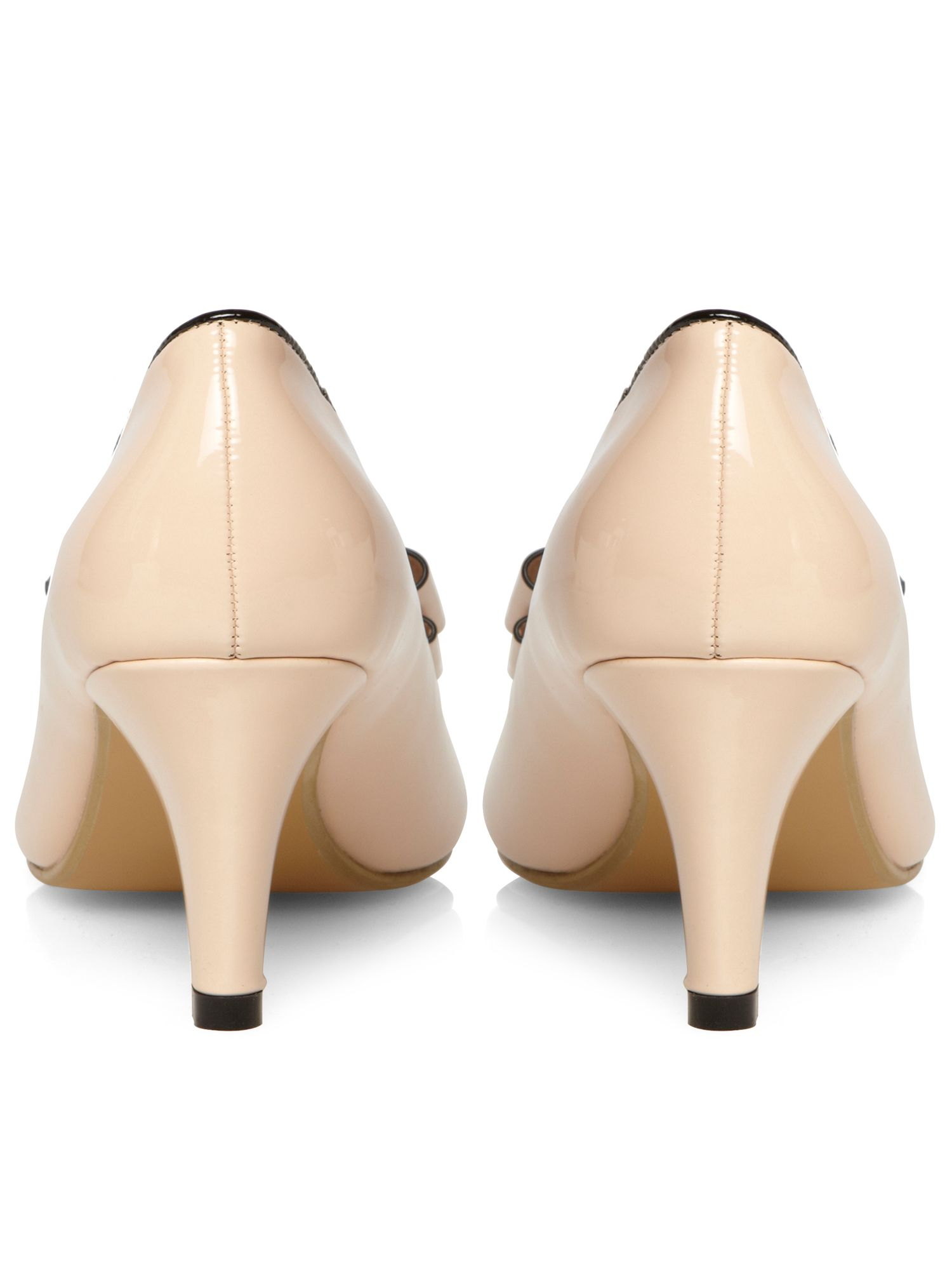 Nude patent bow peep toe court shoe