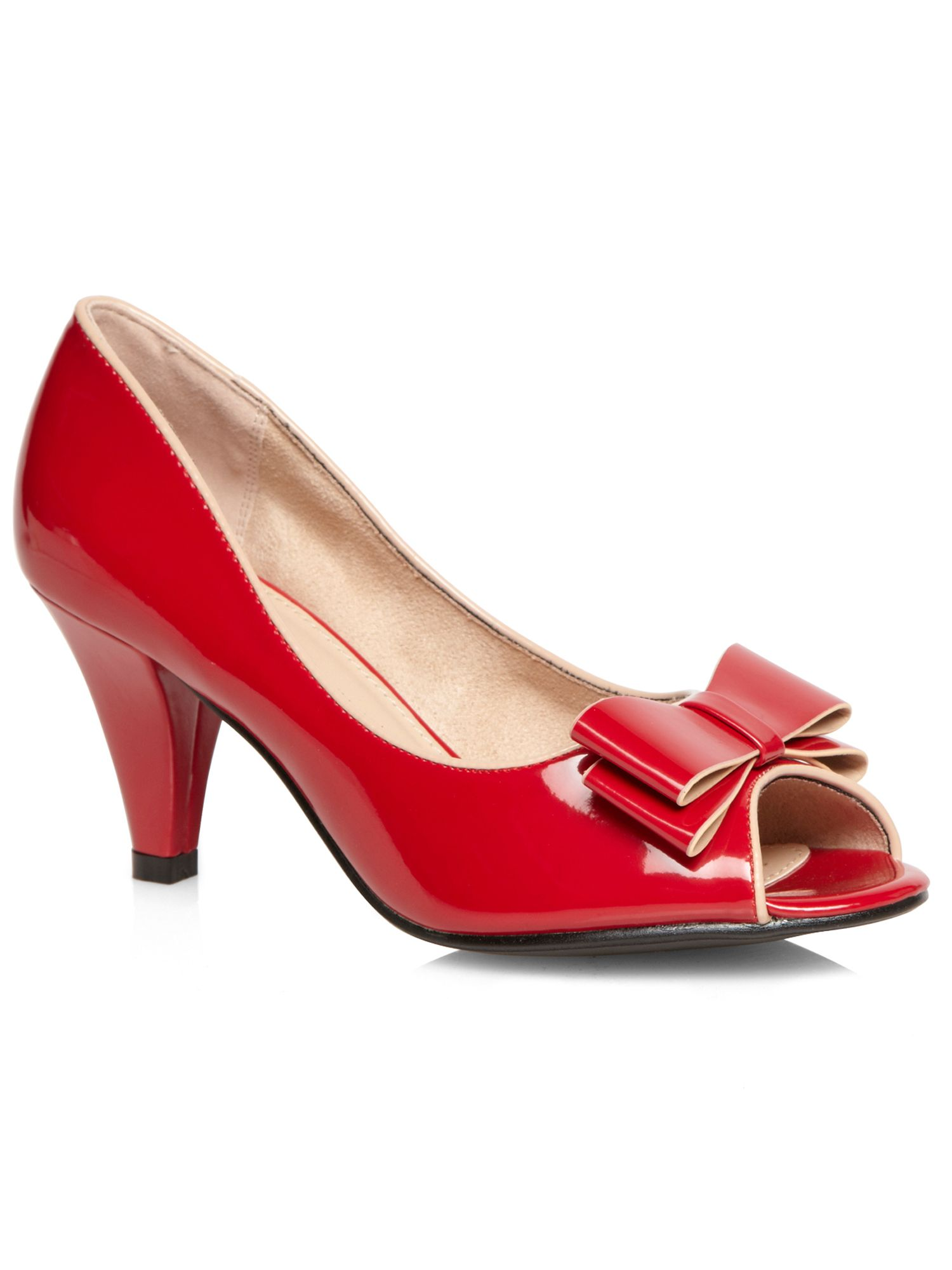 Red patent bow peep toe court shoe