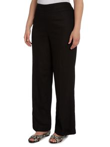 Evans Plus Size Black linen blend trousers