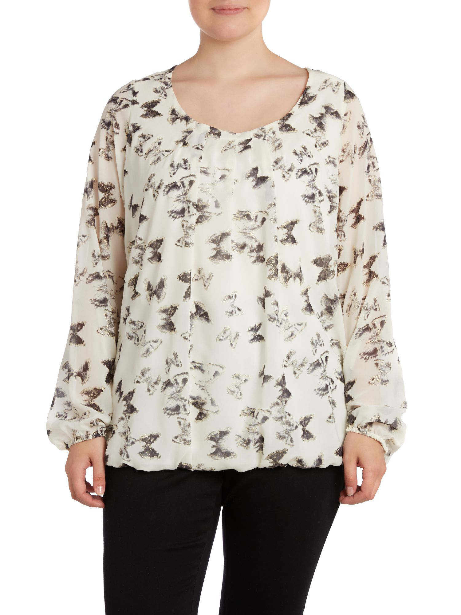 Butterfly print foil bubble top