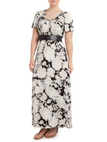 Jersey belted maxi dress