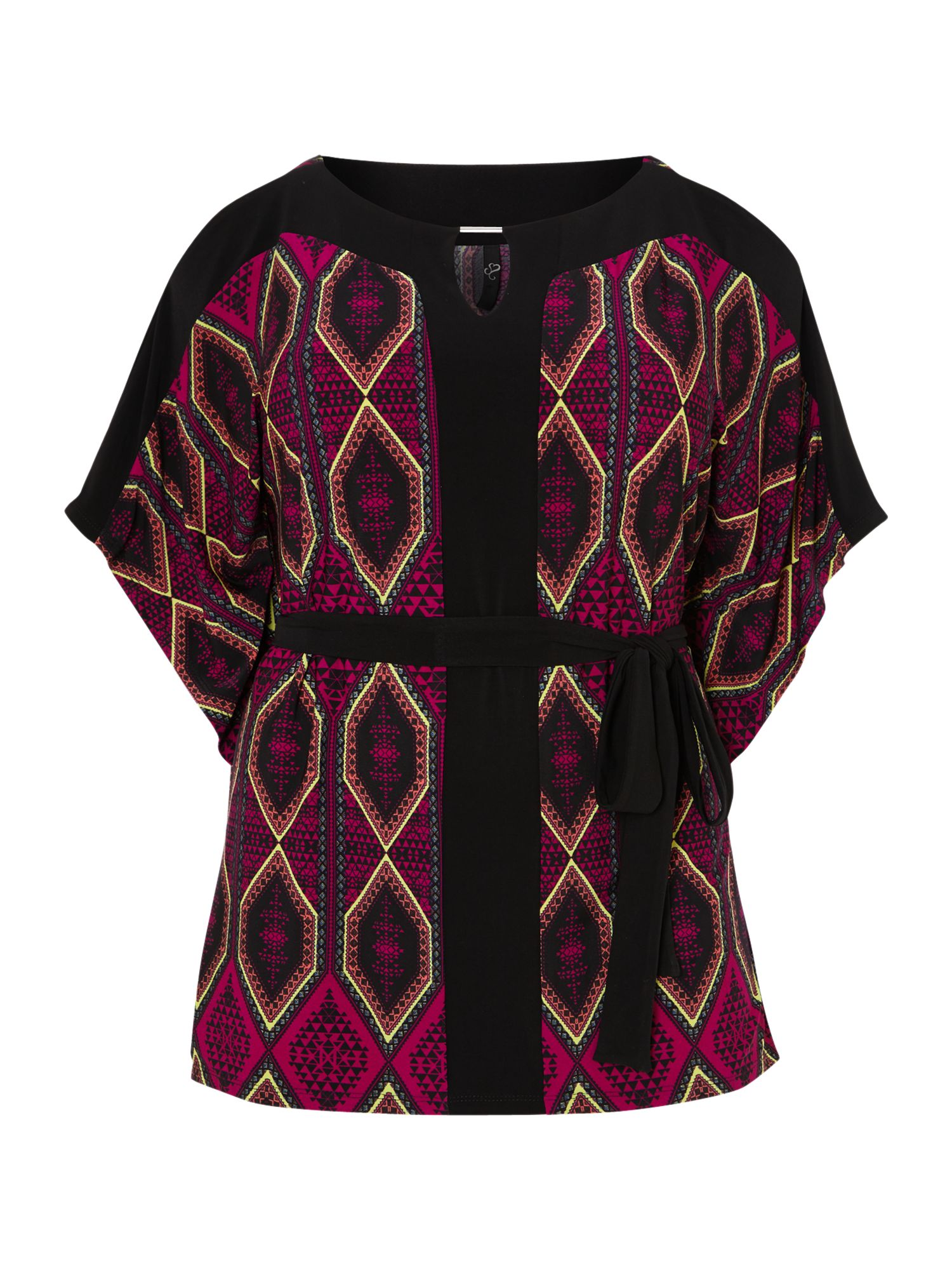 Black and purple diamond print square top