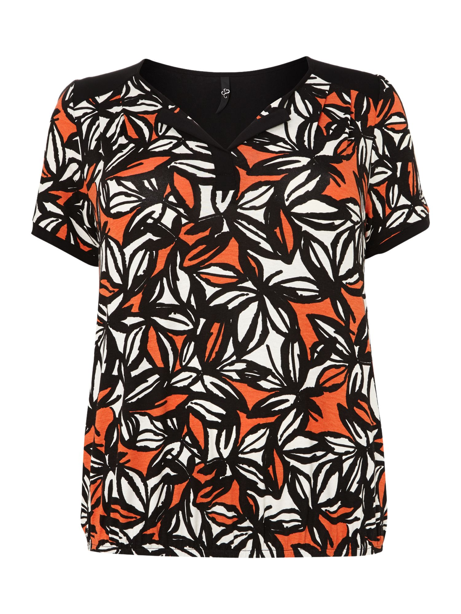 Orange leaf print elastic hem top