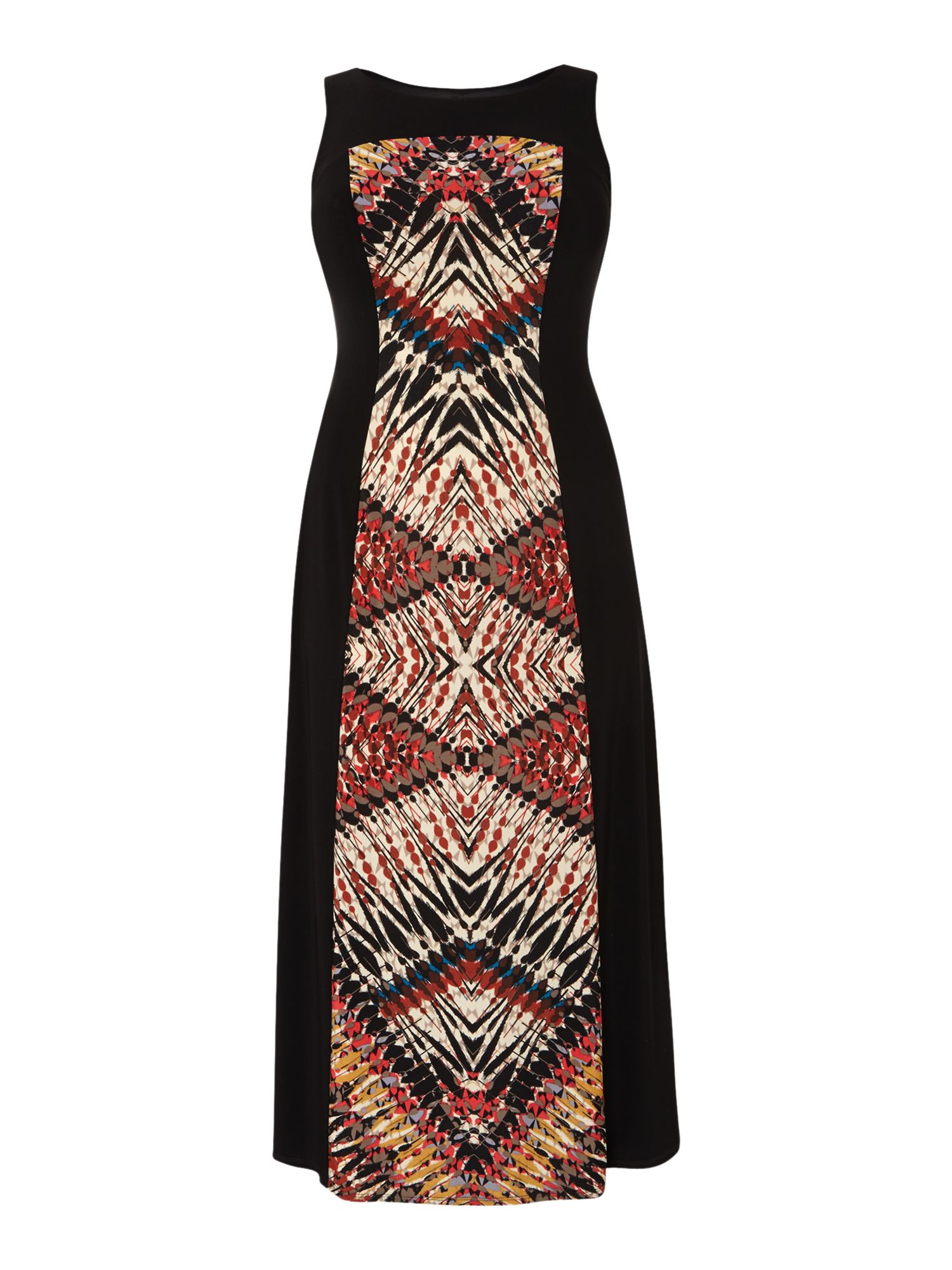 Tribal print panel maxi dress