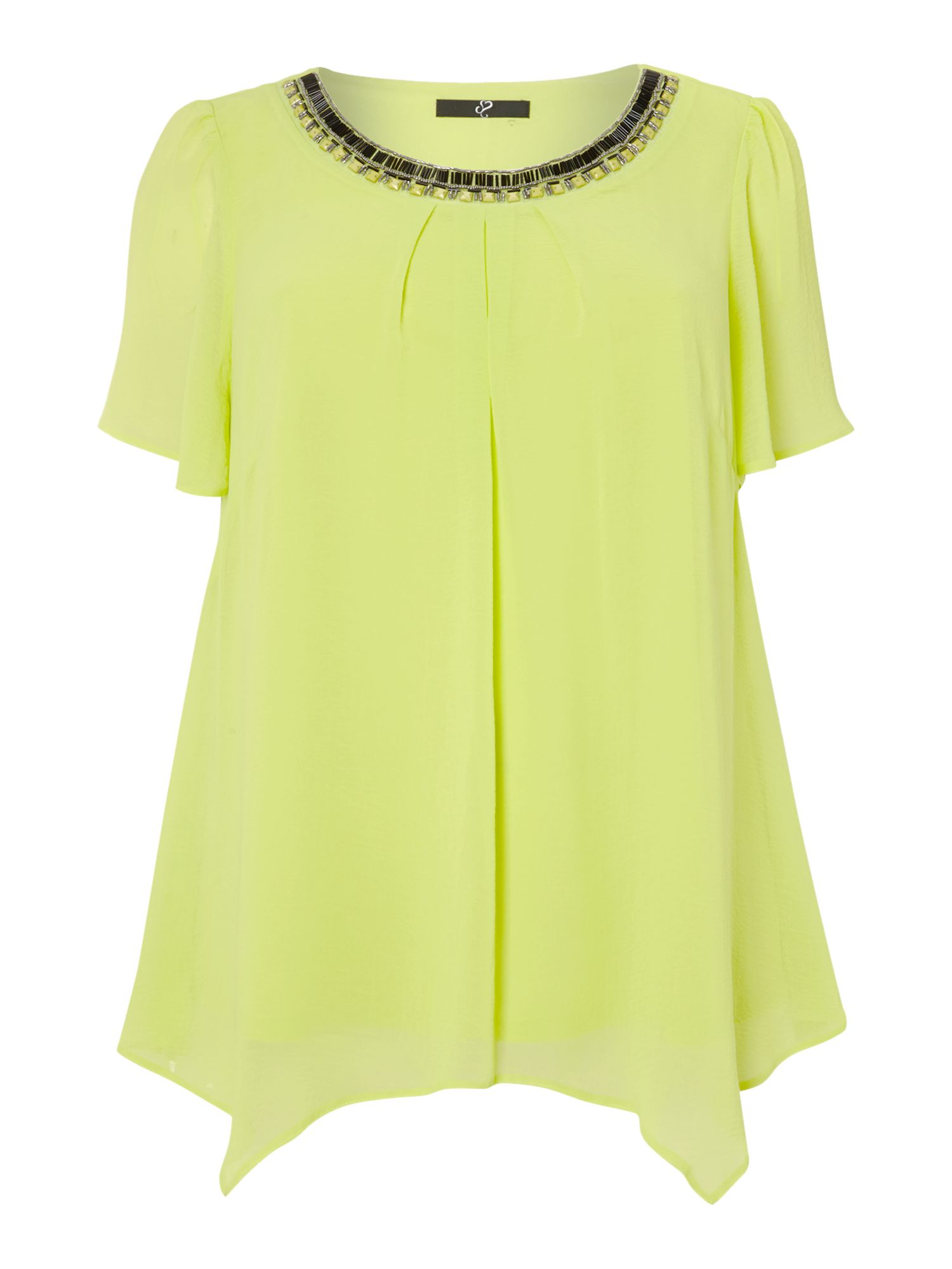 Lime embellished neck hanky hem top