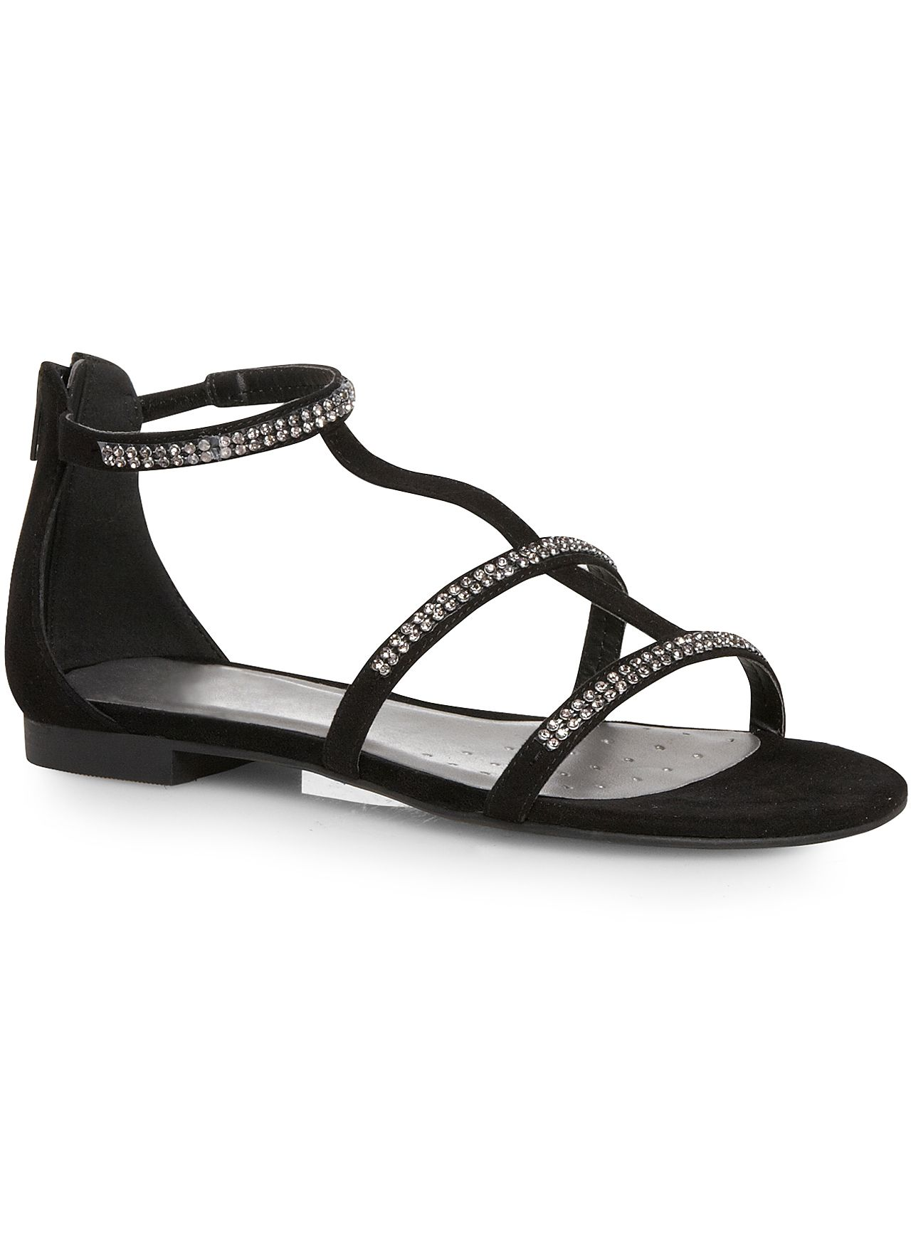Black Diamante H-Bar Sandal