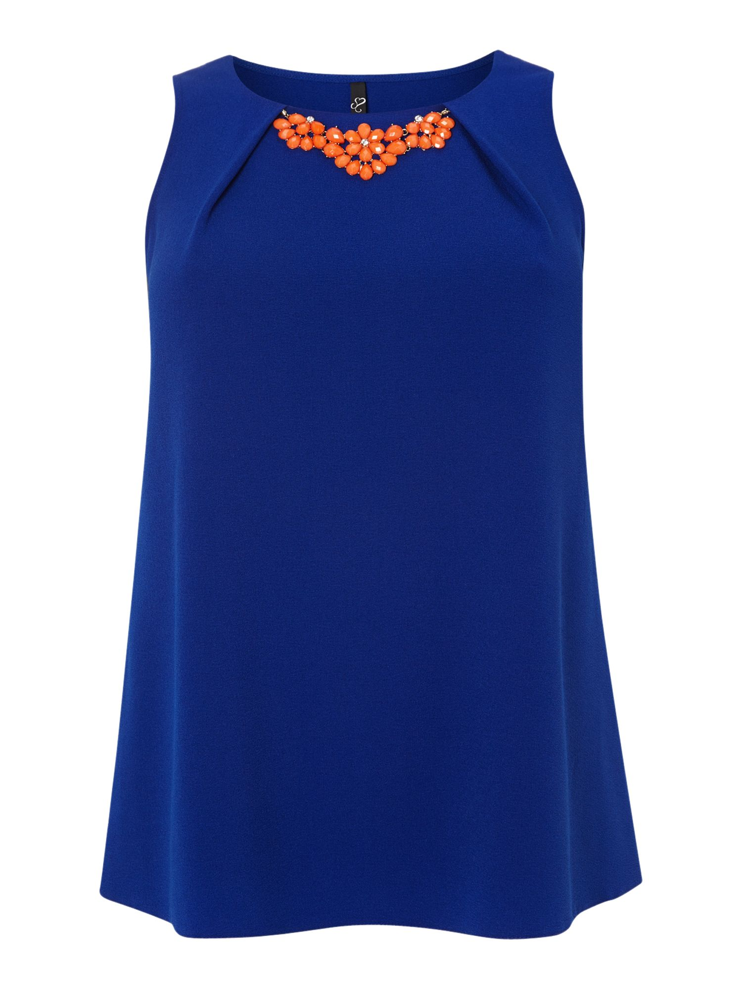 Cobalt crepe trim top
