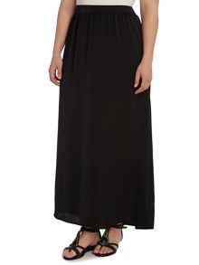 Black hammered satin maxi skirt