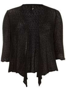 Black Open Knit Textured Shrug