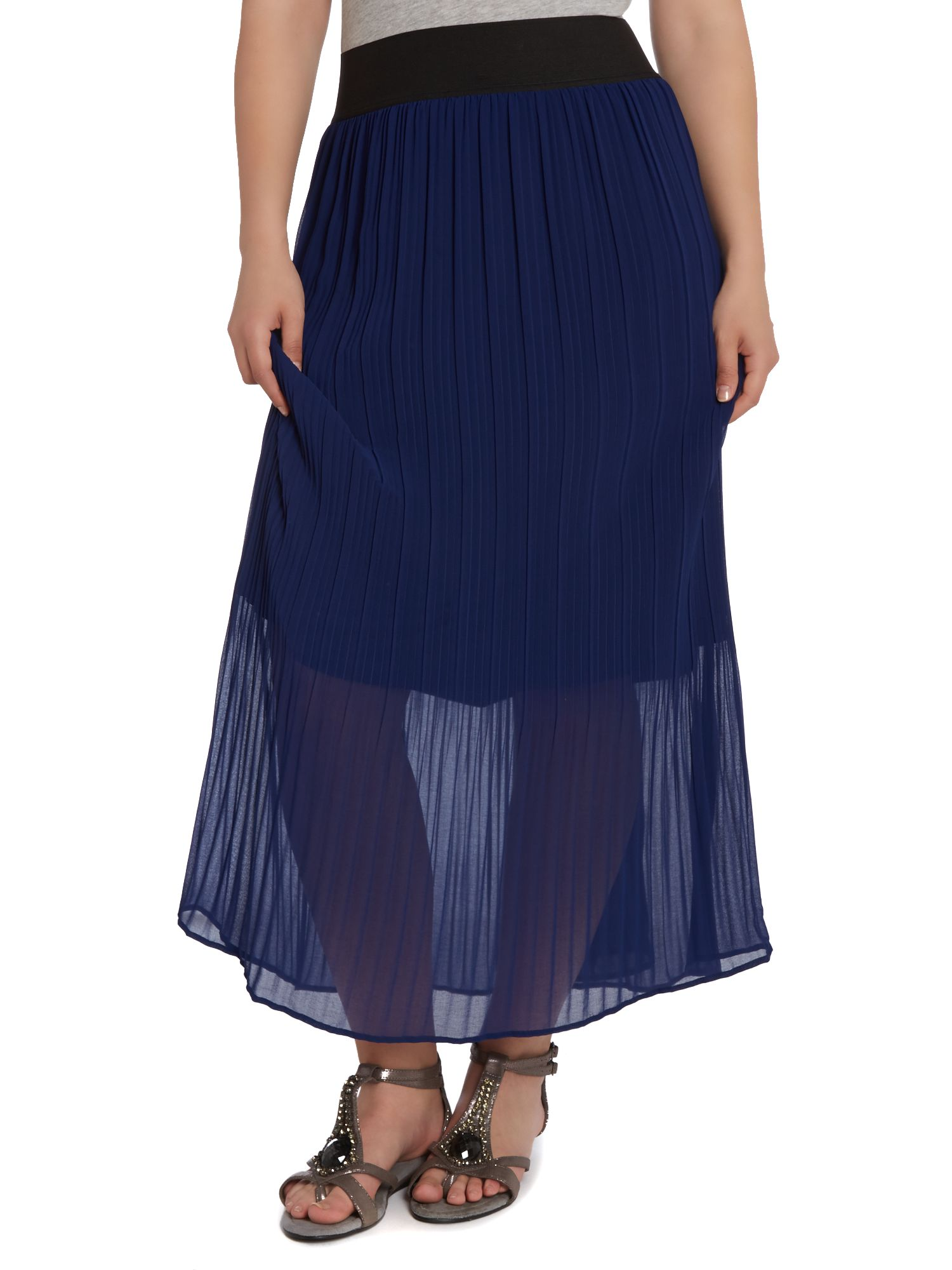Cobalt chiffon pleated maxi skirt