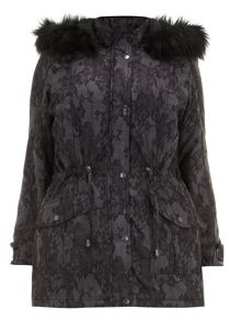 Plus Size Grey lace print parka