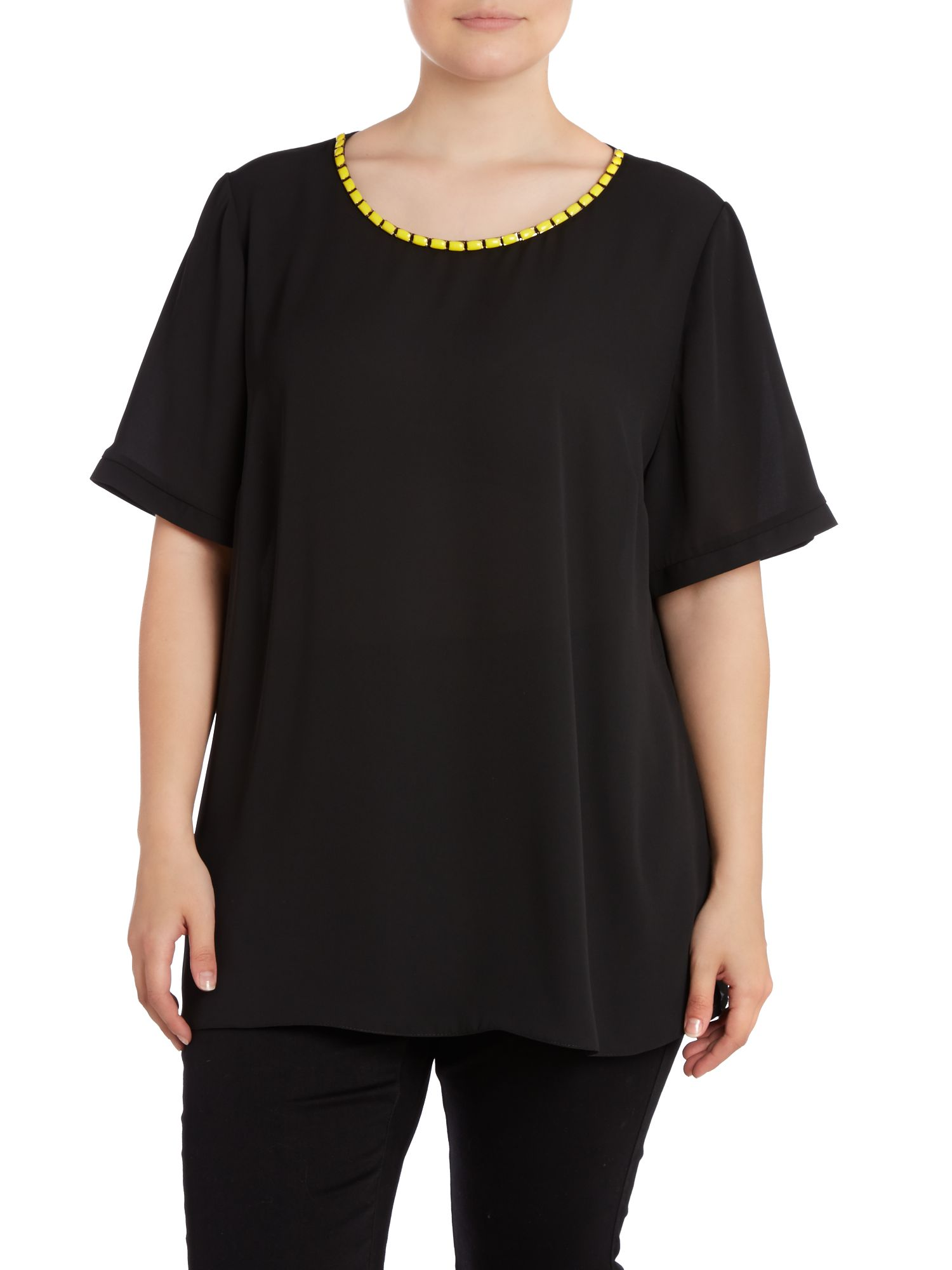 Black lime neck shell top