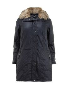 Navy Waxed Parka Coat