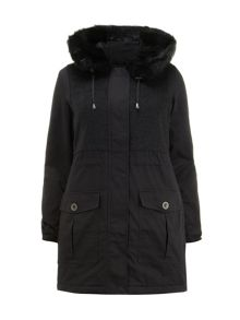 Grey Mix Fabric Parka Coat