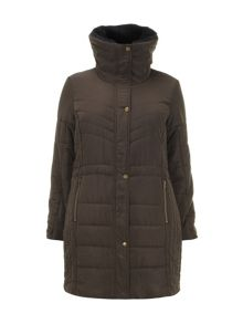 Brown Padded Longline Coat