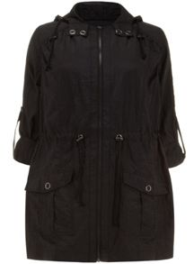 Black sheen parka jacket