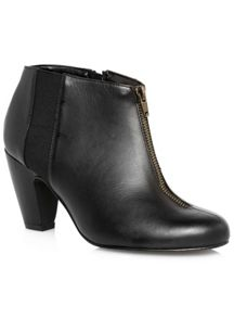 Black Leather Zip Shoe Boot