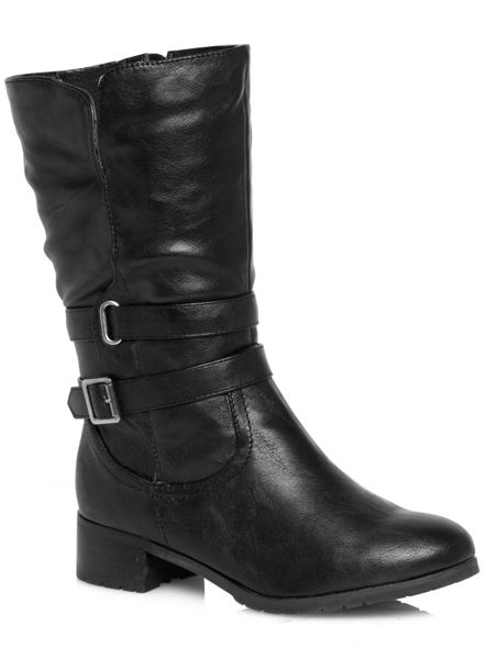 Evans Black Double Strap Biker Boot