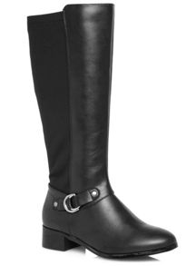 Black Metal Trim Stretch Back Riding Boot