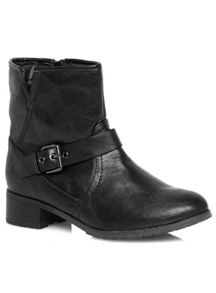 Evans Extra Wide Fit Black Buckle Strap Biker Boots