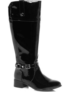 Black patent riding boots