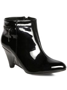 Black patent zip ankle boots