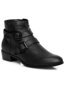 Black buckle strap ankle boots