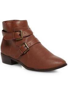 Brown buckle strap ankle boots