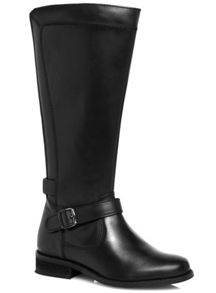 Black Leather Panelled Riding Boot