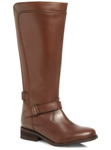 Tan Leather Panelled Riding Boot