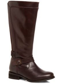 Oxblood Red Leather Panelled Riding Boot