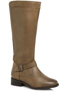 Grey Leather Panelled Riding Boot