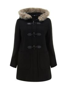 Black Faux Fur Collar Duffle Coat