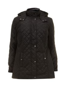 Black quilted hooded coat