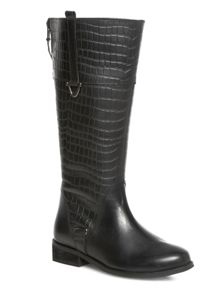 Black Croc Leather Zip Boots
