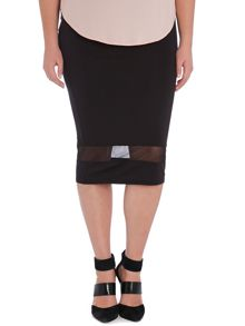 Evans Plus Size Black Mesh Insert Skirt