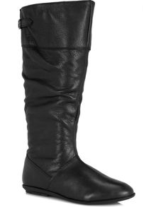 Black leather slouch long boots