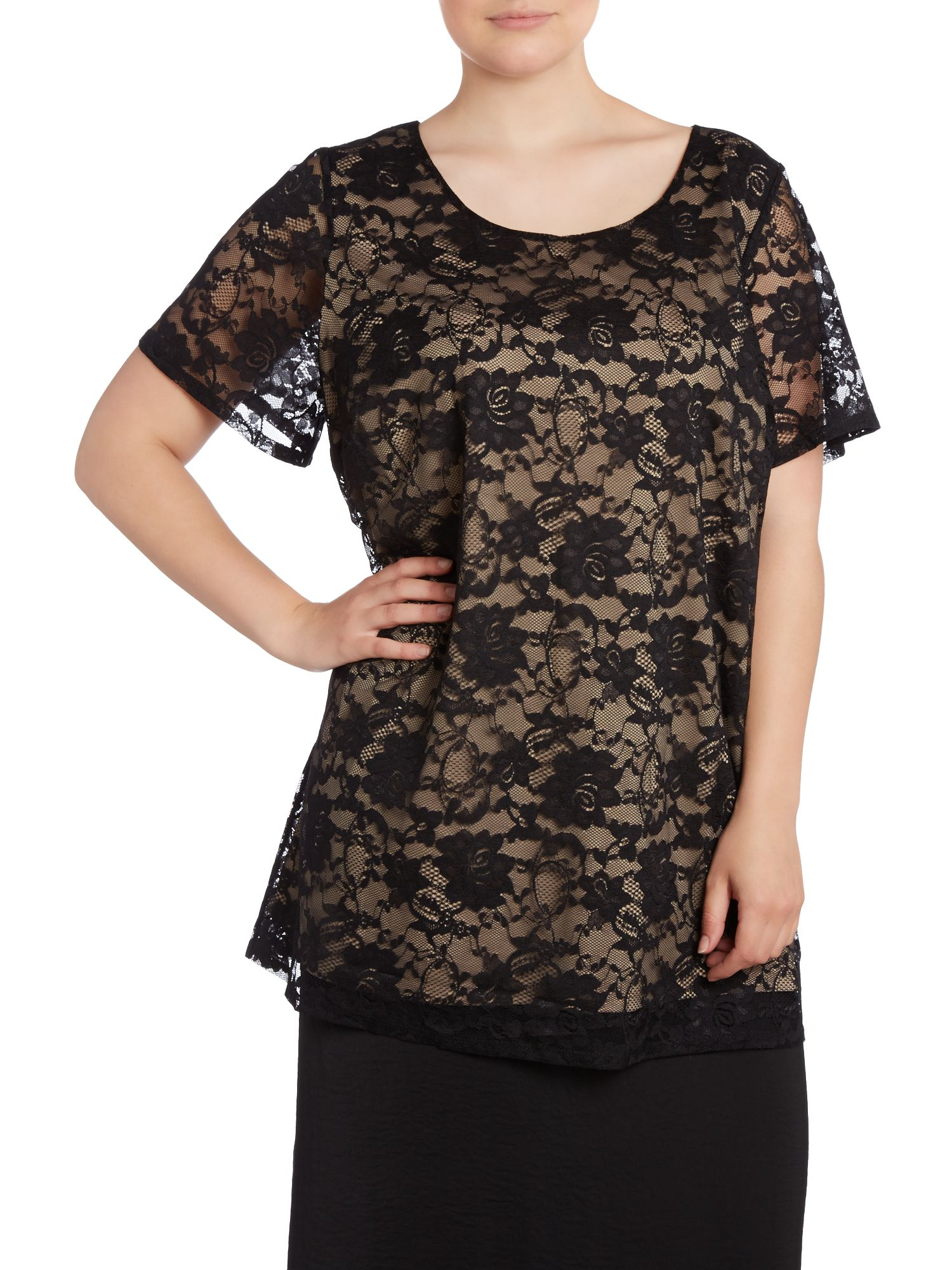 Stone lace shell top