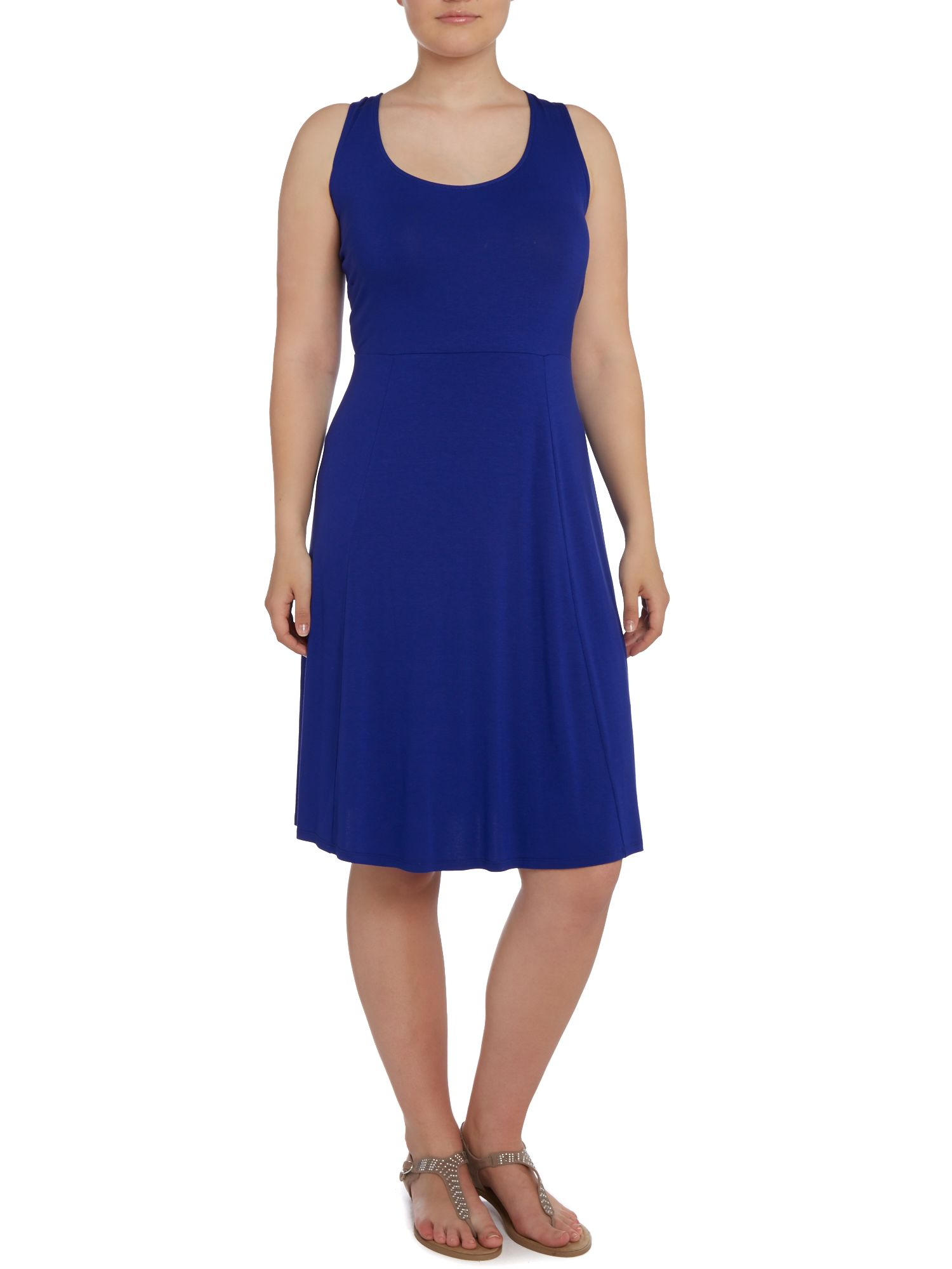 Cobalt sleeveless skater dress
