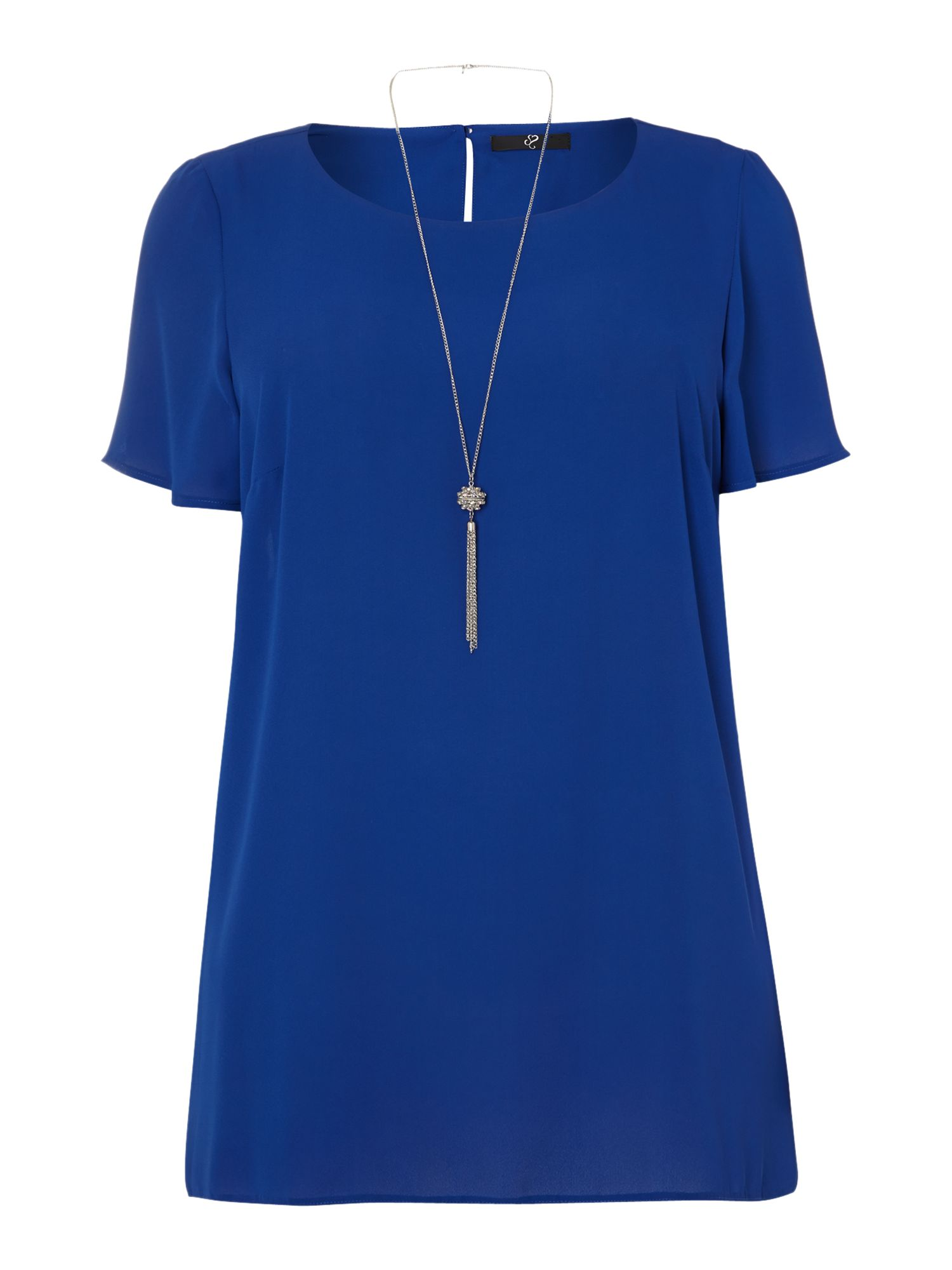 Blue high low hem necklace top