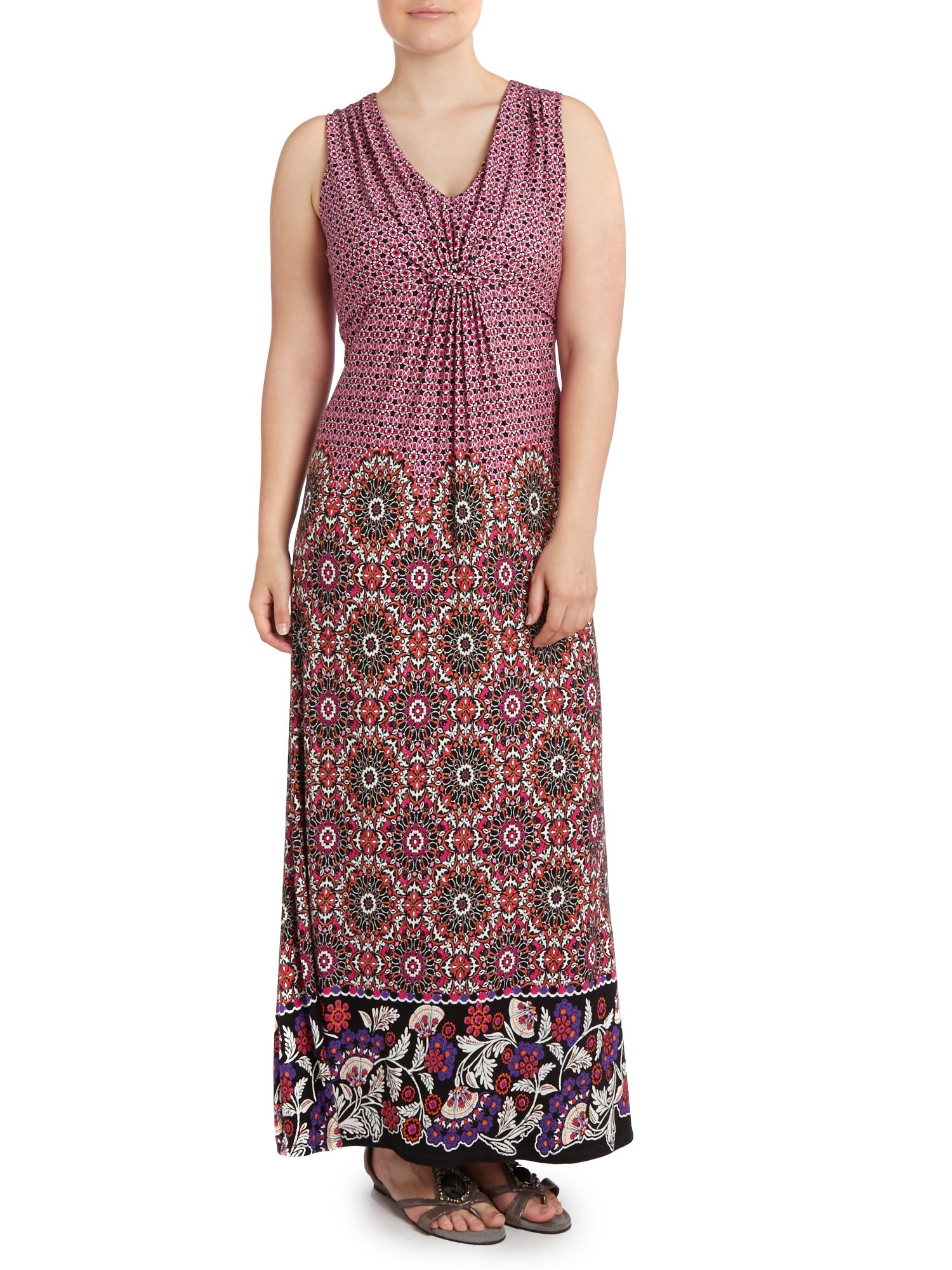 Boho border print maxi dress