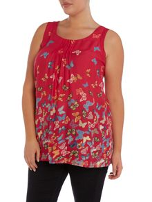 Pink butterfly print cut out top
