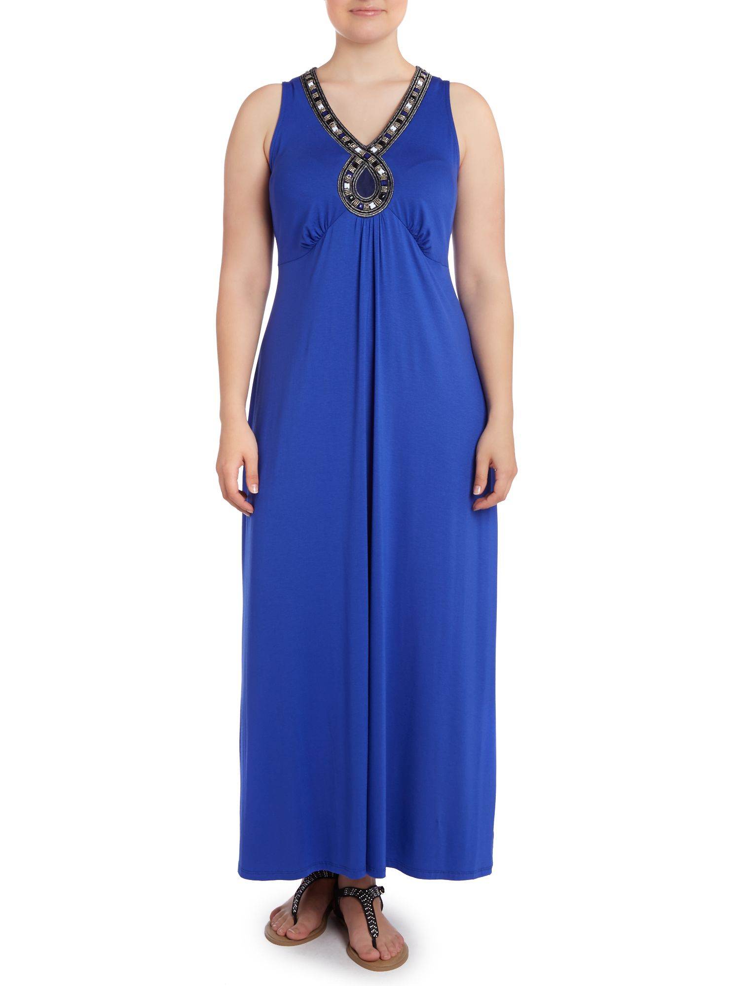 Blue embellished trim maxi dress
