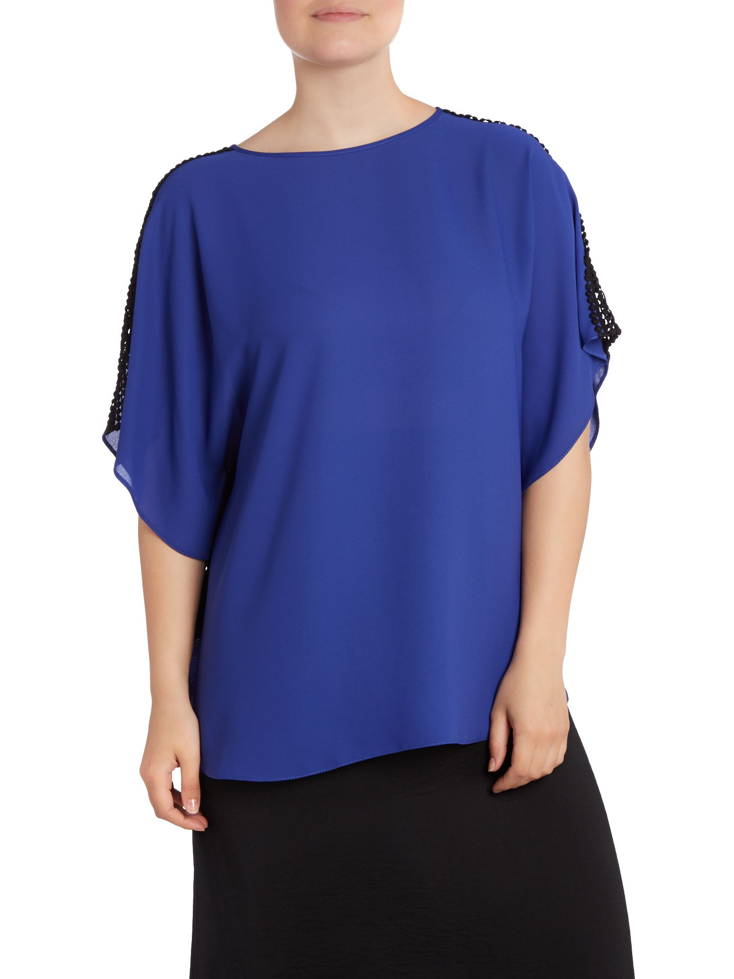 Cobalt crochet trim top