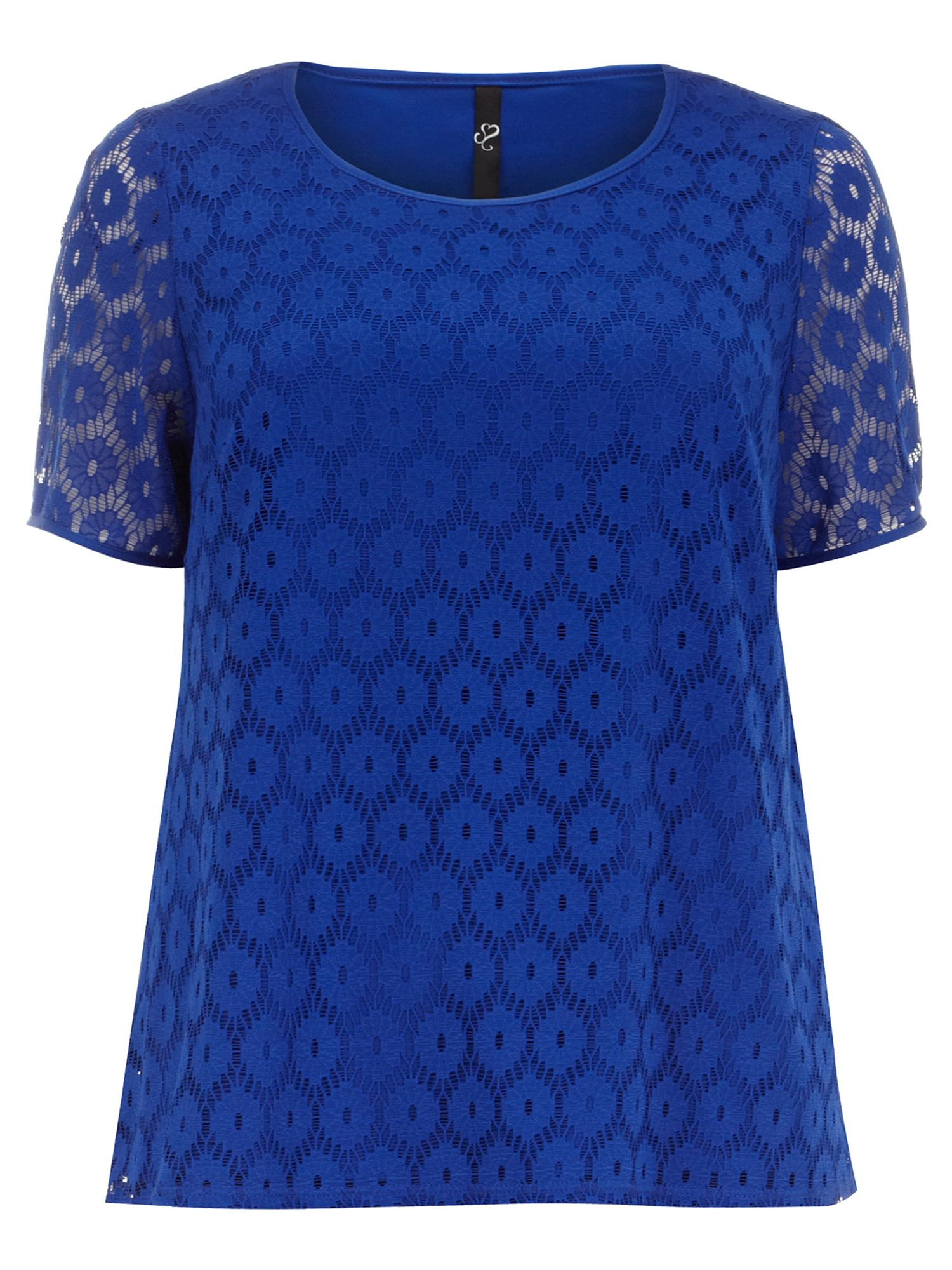 Cobalt circle lace shell top