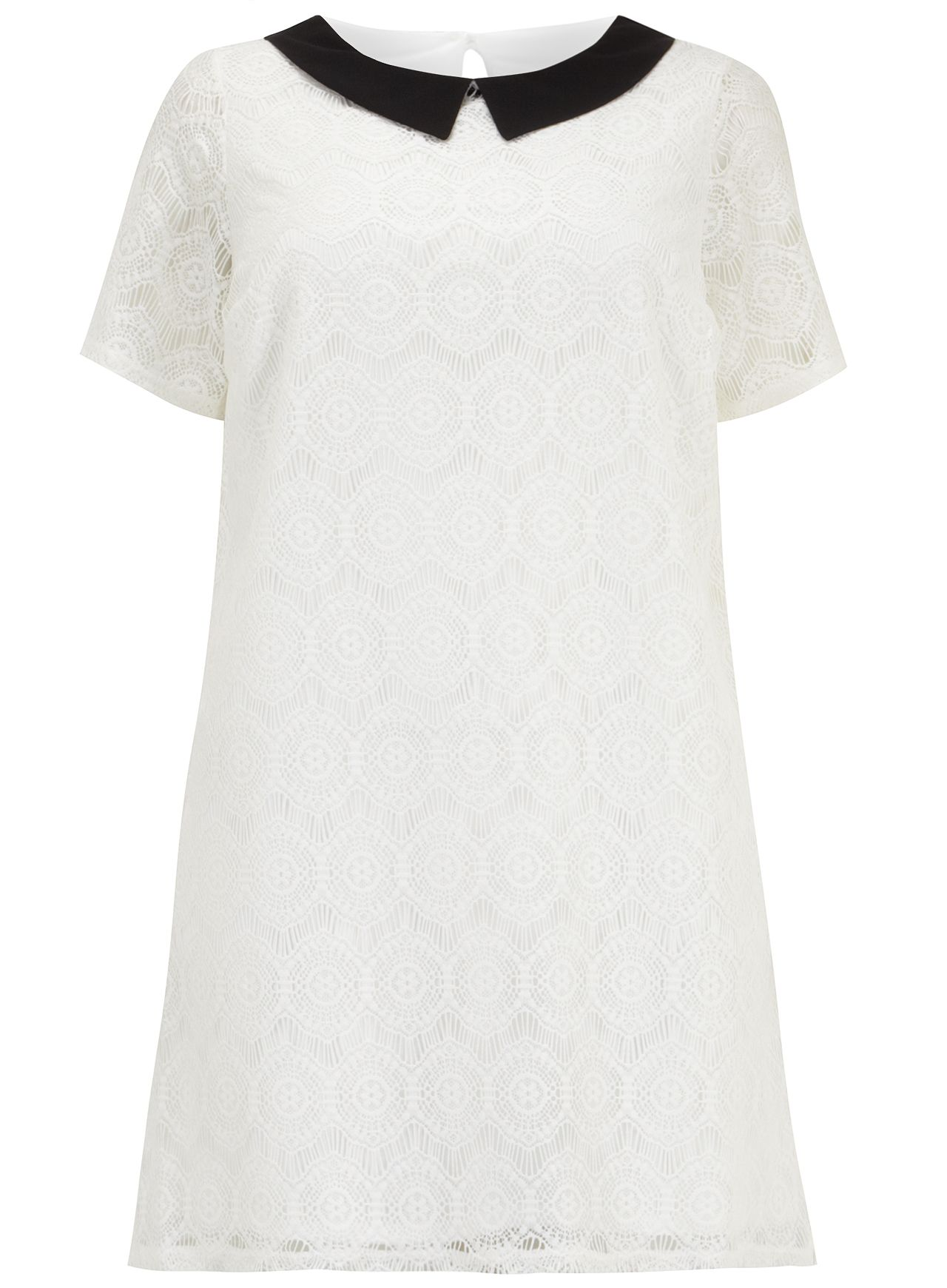 Rounded collar lace tunic