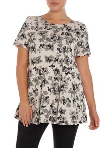 Butterfly print skater top