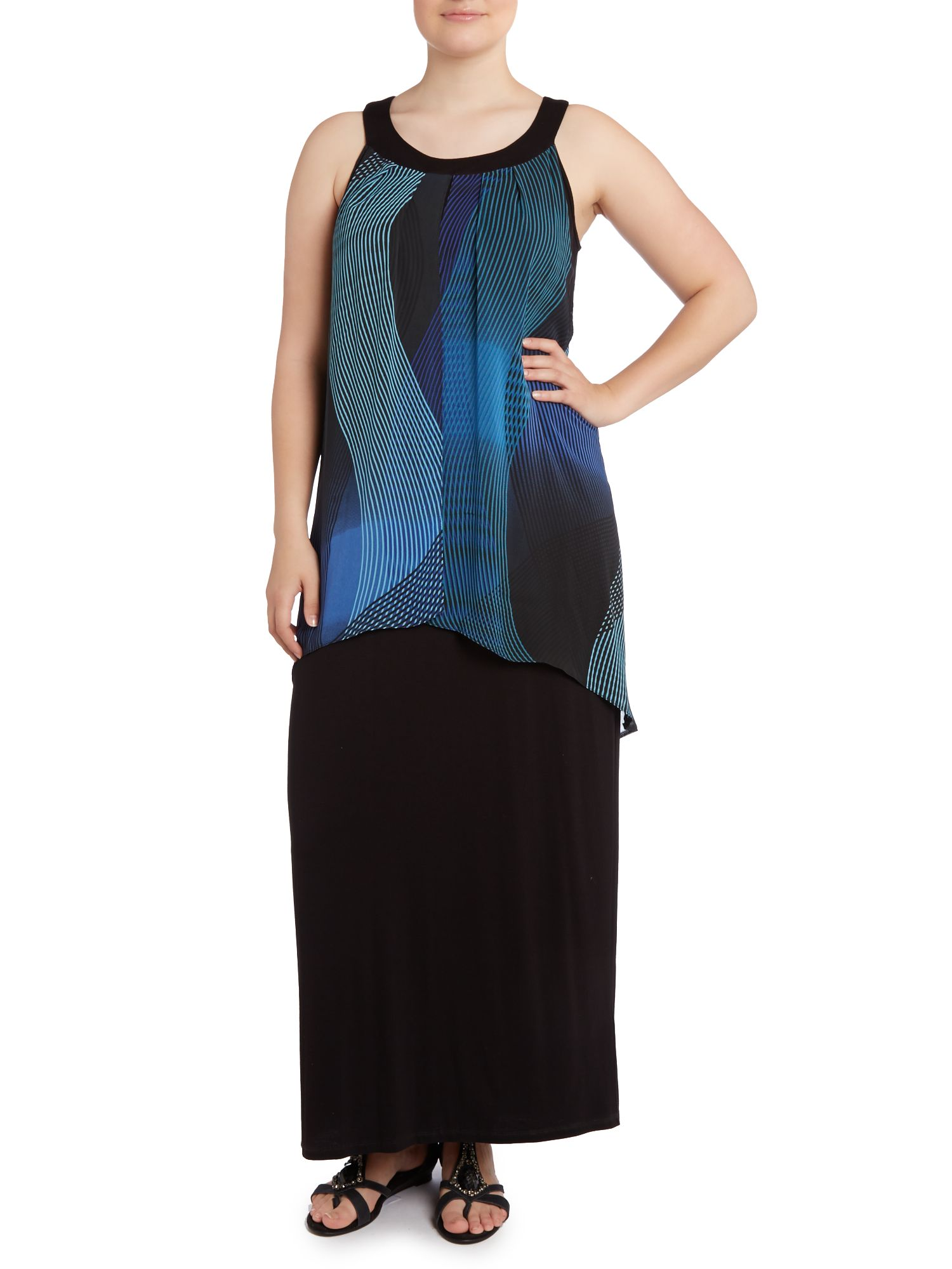 Chiffon layer jersey maxi dress